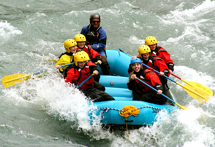 Alpengirls teen summer adventure camp includes whitewater rafting on Six-Mile Creek